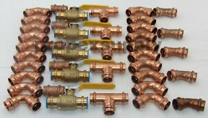 lot Of 40 3 4 Propress Copper Fittings tee Elbow Coupling Press Ball Valves