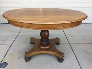 Victorian Style Hall Table Solid Oak Wood Claw Footed Oval Vintage
