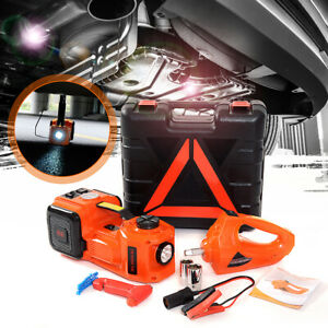 3 In 1 5t Electric Hydraulic Floor Jack Lift Led Flashlight Car Repair Tool Kit