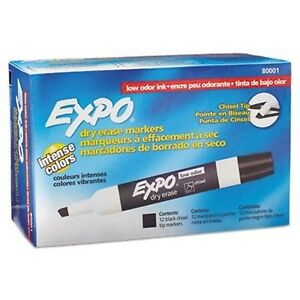 Expo 80001 Low Odor Chisel Point Dry Erase Markers Black 12 Units Per B New