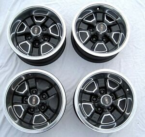 Set 4 14 X 6 Steel Rally Rallye Wheels Black Oldsmobile Cutlass 442 F 85 Omega