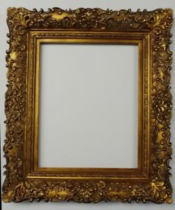 Picture Frame 12x16 Vintage Antique Style Ornate Baroque Bronze Gold Glass 256g