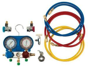 A c Manifold Test And Gauge Kit W89730 W 50 Hose Length And Brass Fittings