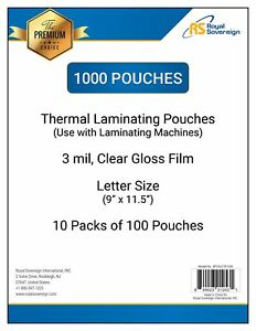 Royal Sovereign 3 Mil 1000 count Thermal Laminating Pouches 9 X 11 5 New