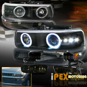 For Chevy Tahoe Suburban Halo Projector Black Led Headlight Smoke Fog Light