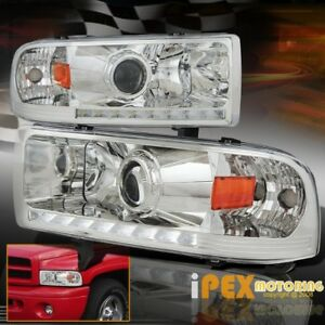 Shiny Chrome 1994 2001 Dodge Ram 1500 2500 3500 Led Drl Bar Headlights Headlamps