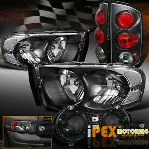 02 05 Dodge Ram 1500 2500 3500 Black Headlight Tail Light Smoke Fog Lamp Kit