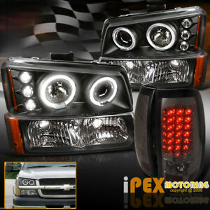 For 03 06 Chevy Silverado Halo Projector Black Headlights Led Tail Light Smoke
