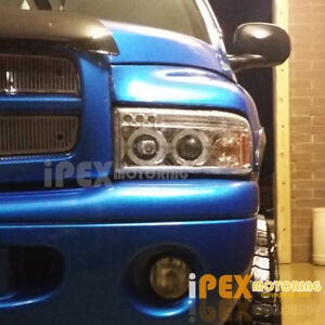 1994 2001 Dodge Ram 1500 2500 3500 Pickup Halo Projector Chrome Led Headlights