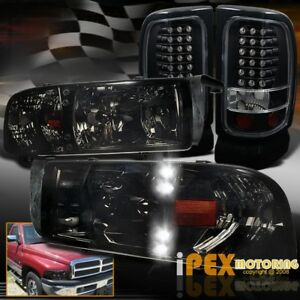 Shiny Smoke 94 01 Dodge Ram 1500 2500 3500 Led Headlights Led Black Tail Light