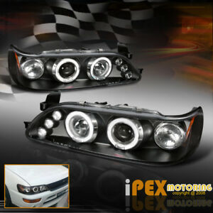 For 1993 1997 Toyota Corolla Dual Halo Projector Led Headlights Black Headlamps