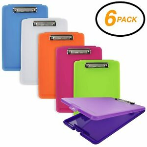 Emraw Plastic Translucent Clipboard Pack With Storage Case Box Letter Siz New