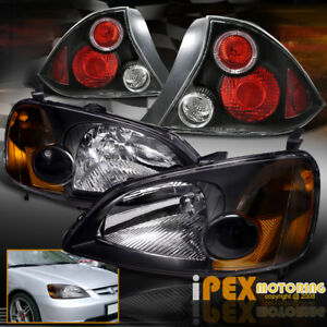 For For 01 03 Honda Civic 2dr Coupe Jdm Black Headlights W Halo Rim Tail Lights