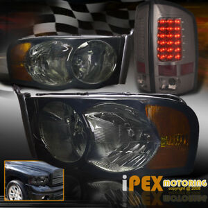 New 2002 2005 Dodge Ram 1500 2500 3500 Smoke Headlight Led Tail Light Smoke