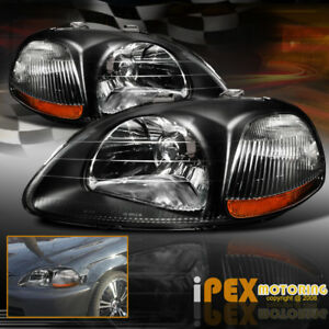 New For 96 97 98 Honda Civic Ek Black Headlights Jdm Style Headlamps