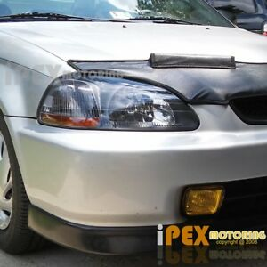 For 96 98 Honda Civic Ek Jdm Black Type R Style Headlights Yellow Fog Lights