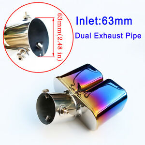 Universal Muffler Tail Exhaust Rear Pipe Tip Cover Truck Parts 63mm Inlet 2 5
