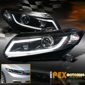 For 12 15 Honda Civic Projector Smoked black Headlights W Glow Light Strip