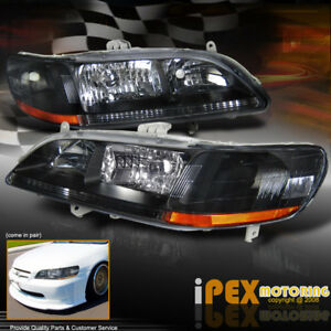 For 98 02 Honda Accord 2 4dr Jdm Black Headlights Replacement Headlamps