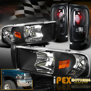 1994 2001 Dodge Ram 1500 2500 Black Headlights W Signal Dark Smoke Tail Lights