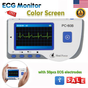 Handheld Heal Force Color Ecg Ekg Heart Monitor W 50 Lead Electrodes Portable