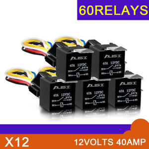 60 Pack Waterproof Car Automotive Power Relay 12v Dc 30 40 A Spdt 5 pin Relay