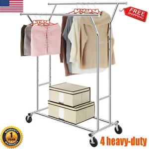 Heavy Duty Adjustable Rail Rolling Collapsible Garment Rack Hanger Shelf Chrome
