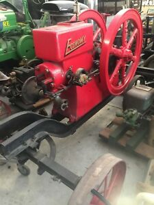 Nice Clean Antique Vintage Old 7 Hp Economy Hit And Miss Gas Engine On Cart
