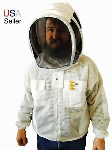 Beekeeper 3 Layer Ventilated Jacket With Veil Protective Clothing Us Seller