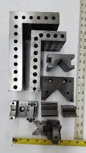 Lot Machinist V Blocks Angle Plates Clamp Set Milling Machine Grinder 8 4 Setup