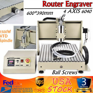 4 Axis 6040 Cnc Router Engraver Engraving Milling Machine Ballscrew 1500w Vfd
