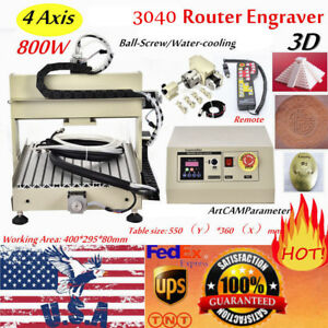 800w Vfd 4axis 3040 Cutter Cnc Router Engraver Wood Milling Machine Controller