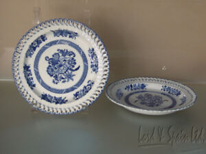 2 Copeland Late Spode 19th C Reticulated Rim Blue Floral Plates