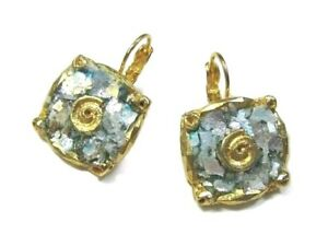Roman Glass Earrings Ancient Fragments 200 B C Gold Plated Holy Land Israel