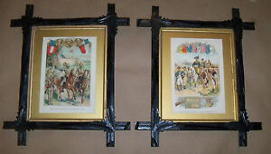 Antique Revolutionary War Civil Confederacy Chromo Litho Black Forest Frame Lot