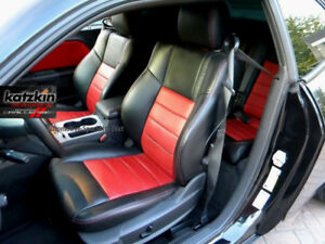 Katzkin Dk Graphite Red Leather Seat Cvrs Fit 2009 2010 Dodge Challenger Se Rt