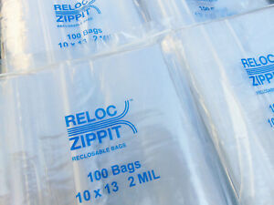 1000 Ziplock Bags Large 10 X 13 Clear 2 Mil Zip Reclosable Zippit Reloc 10x13
