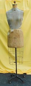 Vintage J R Bauman Normal Dress Form Inc Size 14 Tall W cage Base Rare Form