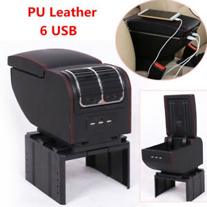 Universal 6 Usb Car Central Container Armrest Box Pu Leather Center Storage Case