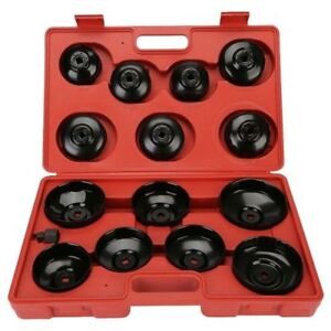 14pcs Oil Filter Wrench Set Cup Type Professional Socket Removal Garage Tool New