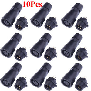 10pcs 4 pin Waterproof Panel Cable Air Wire To Wire Connector Plug Socket