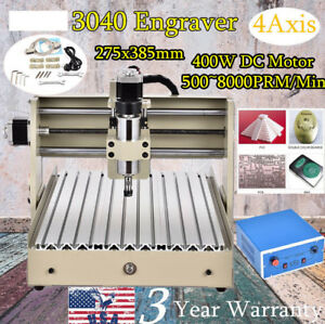 400w 4axis Cnc Router 3040 Engraver Engraving Drill Mill Machine 3d Cutter Usa
