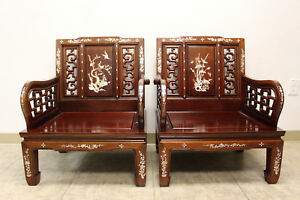 Vintage Chinese Rosewood Mother Of Pearl Inlay Chairs Armchairs