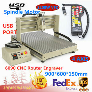 Usb 4axis 6090 Cnc Router Engraver Milling Machine Vfd Remote Controller