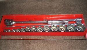 Snap On 16 Piece 3 8 Dr Sae Short Socket Set 6 Pt 1 4 1 Ratchet And Ext