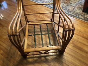 1963 Heywood Wakefield Rattan Club Chair Bamboo Vintage Lounger Mid Century