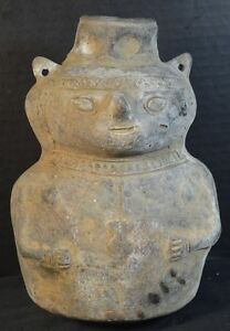 Antique Pre Columbian Pottery Vase Of A Human Figure