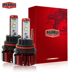 Akarui 9007 Led Headlight Bulbs 6000k White Cree Xhp70 Convertion Kit Pair