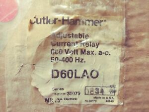 Cutler Hammer D60la0 Adjustable Current Relay Without A2 Transformer New In Box