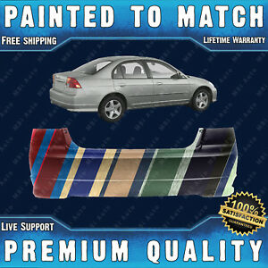 New Painted To Match Rear Bumper For 2004 2005 Honda Civic Sedan